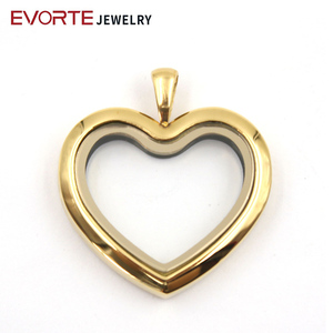 Wholesale Fashion New design Magnetic Heart 316 Stainless Steel Floating Charm Locket Glass Pendant