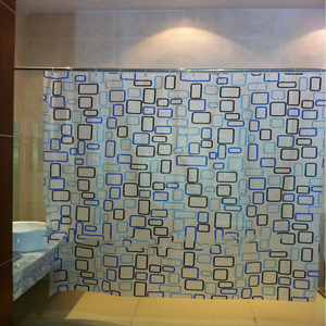 blue ang green square led PVC print shower curtain