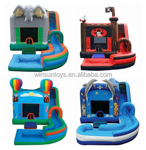 Commercial theme inflatable jumping castle with water slide,inflatable splash water slide bouncer