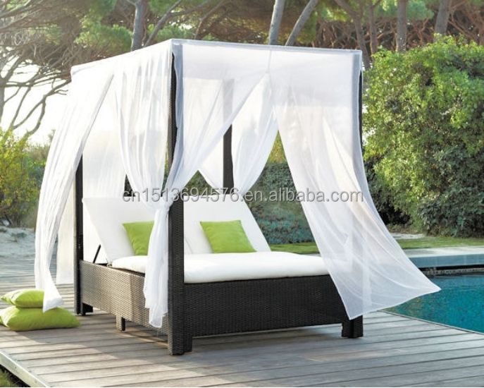 Outdoor Synthetic Rattan Garden Furniture 2-Seater Sun Bed Lounger For Swimming Pool