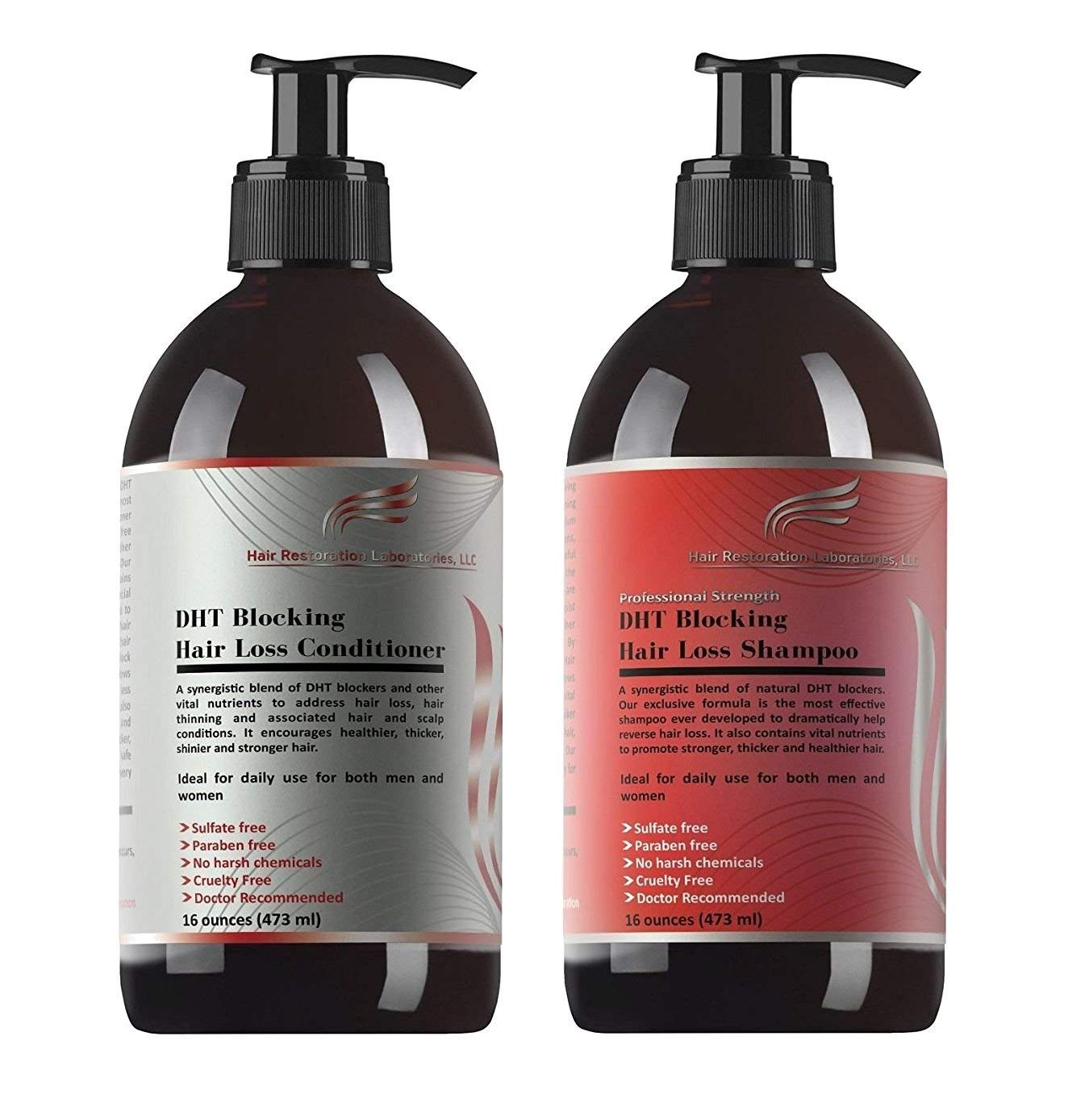 HAIR RESTORATION LABORATORIES' PROFESSIONAL STRENGTH DHT BLOCKING HAIR LOSS  SHAMPOO & CONDITIONER SET-OVER 30 DHT BLOCKERS