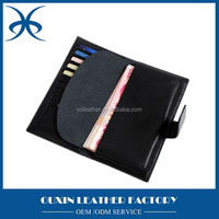Durable man leather wallet money clip and card holder leather man wallet black color long wallet