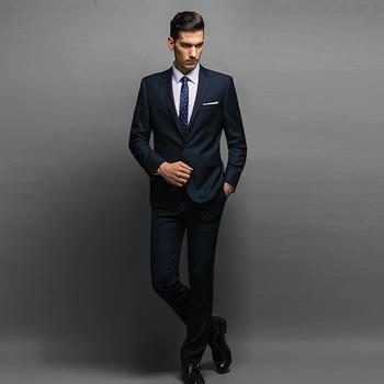 De China de fábrica para hombres azul marino de corte Slim traje de  negocios. e6f0a64a3b6