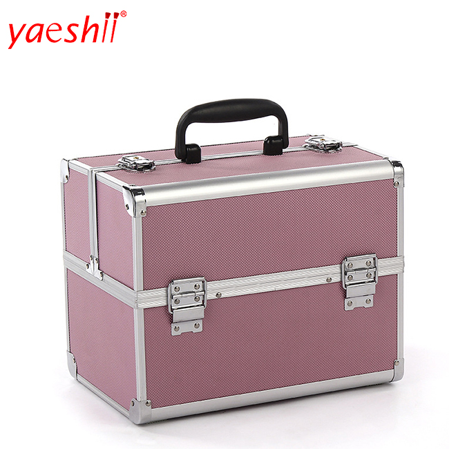 Yaeshii Foldable Multilayer Professional Beauty Cosmetic Train Case Aluminum Makeup