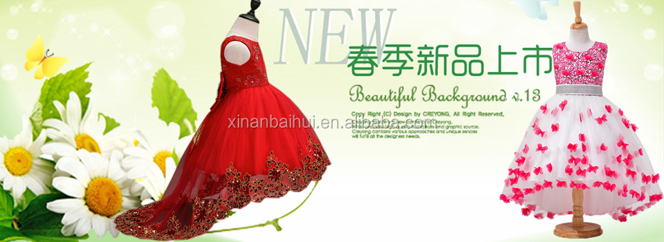 Korean style red flowe girl wedding dress Exquisite Princess party dress for 2 years old baby girl lace dress with bead