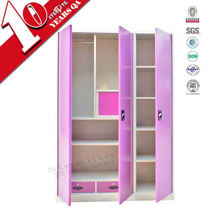 girls bedroom 3 door pink steel wardrobe design cheap
