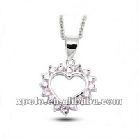 Exquisite Pink CZ Heart Pendant Girl's Choker Necklaces