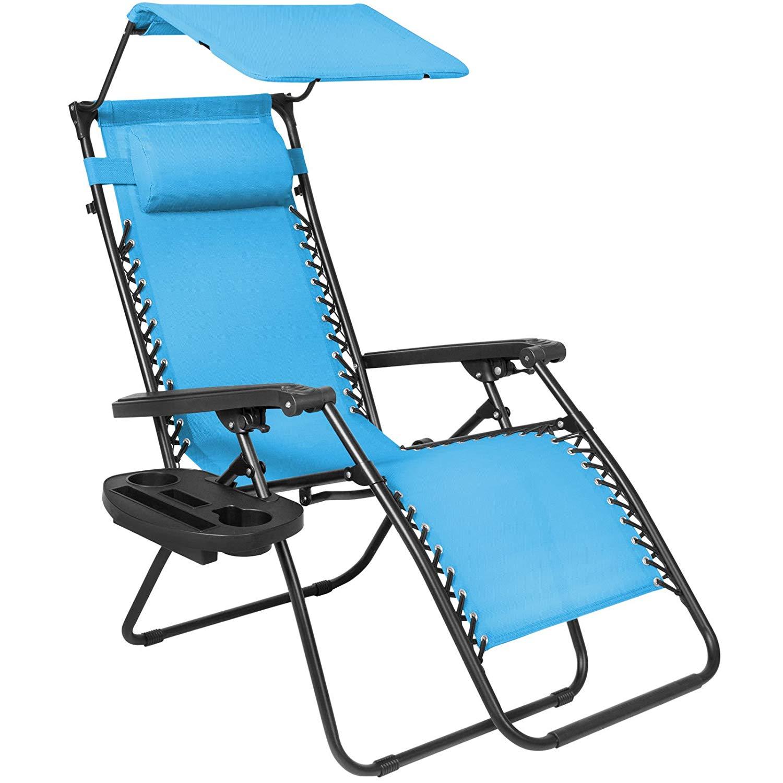 Ar Folding Zero Gravity Lounge Chair W/Canopy & Magazine Cup Holder-Light Blue