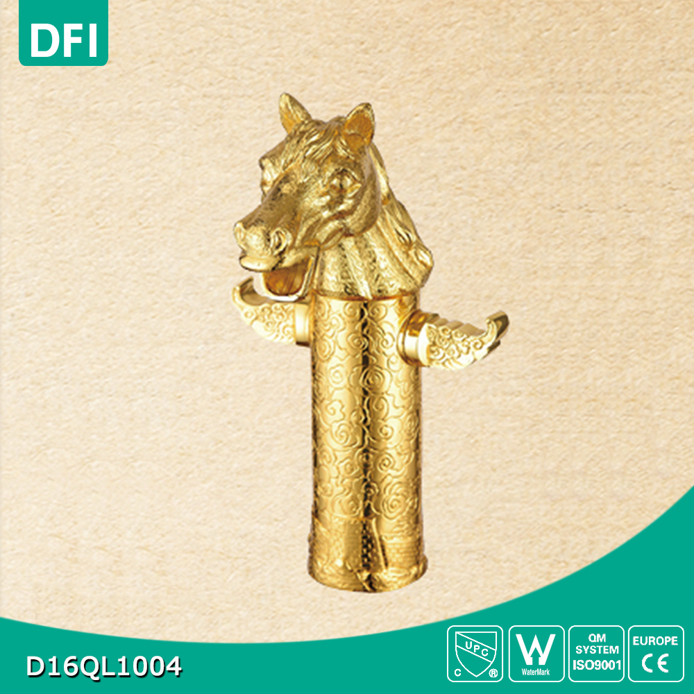 Golden-plated cold and hot water wash basin faucet