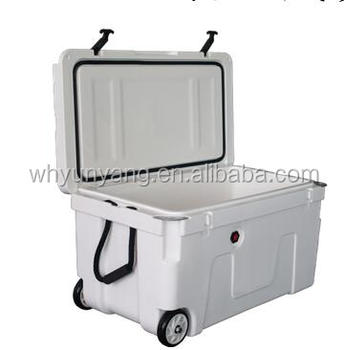 140L roto molded ice cooler box for fishing camp with wheel