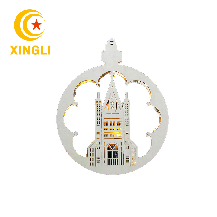 New product battery operated wooden round bridge light ,home decoration carved wood ornament