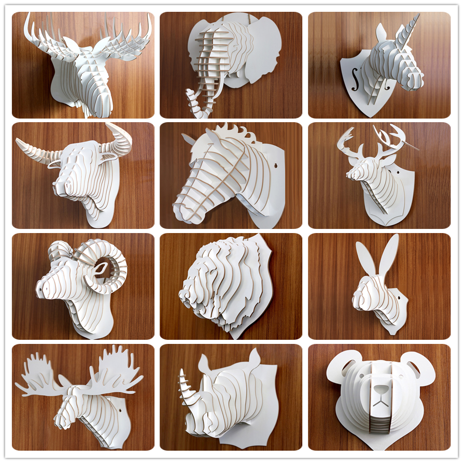 2018 New 3D carve puzzled Wood Deer Head Wall Trophy, Hanging ,Home Deor, Laser Cut,Hand Made,Faux Taxidermy Assembled