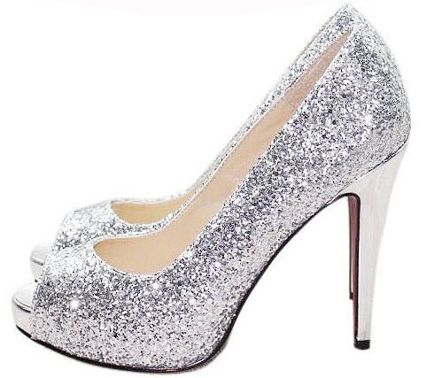 2015 new Silver open toe rhinestone paillette bridal shoes wedding shoes princess thick high-heeled big sizes wedding shoes