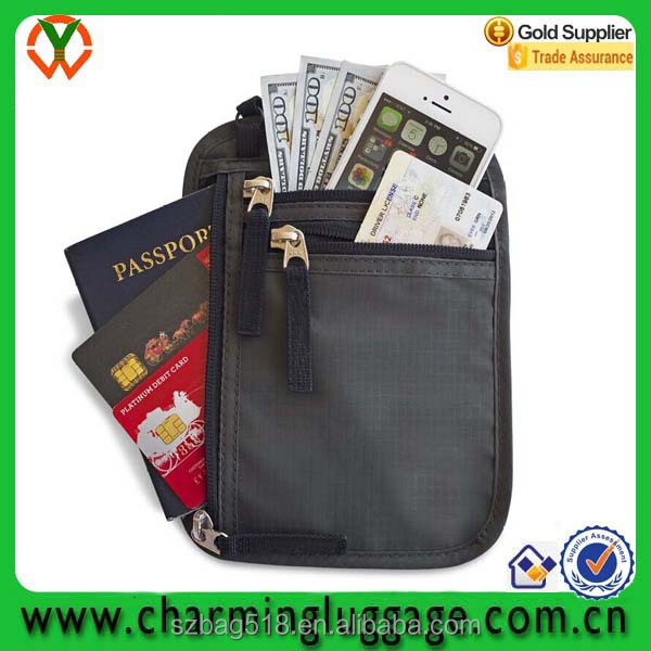 Premium OEM rfid blocking passport holder travel neck wallet