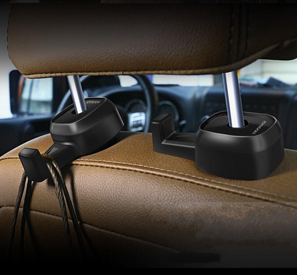 VRLEGEND 2pcs Pack Car Seat Back Hook Headrest Storage Hanger Universal Bag Holder for Purse Car Vehicle Back Seat Headrest Hanger (Black)