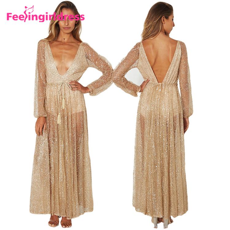 2316ab76d9de4 جذاب مثير العميق الخامس الرقبة الكامل الأكمام الطويلة فستان سهرة ...