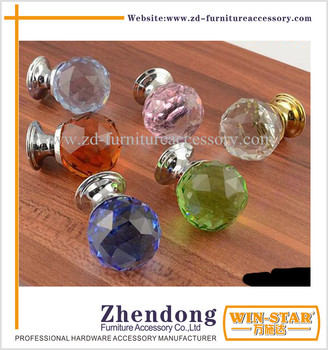 Low Price Diamond Shaped Furniture Crystal Glass Material Cabinet Drawer Handles