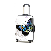 100% PC trolley luggage,wholesale foldable scooter suitcase,butterfly printed trolley suitcase