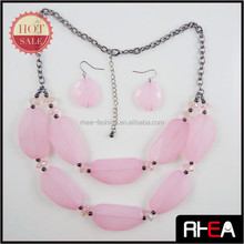 Pink Resin Stone Fashion New Trend Lady Necklace Jewelry set