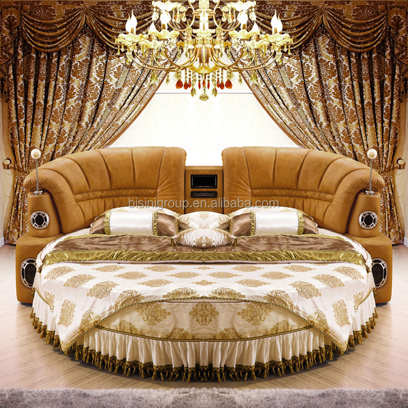 Mordern Leather Round Bed Hotel Musical Round Bed With