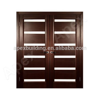 Walnut color front door design wooden double Door design with ...