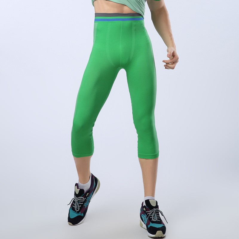 Men tight Pants Slim Compression Elastic Gymnastic Bicycling Swimming Pants 9