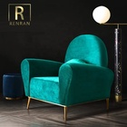 Latest design Italian european style postmodern living room furniture good quality velvet single luxury and cozy sofa