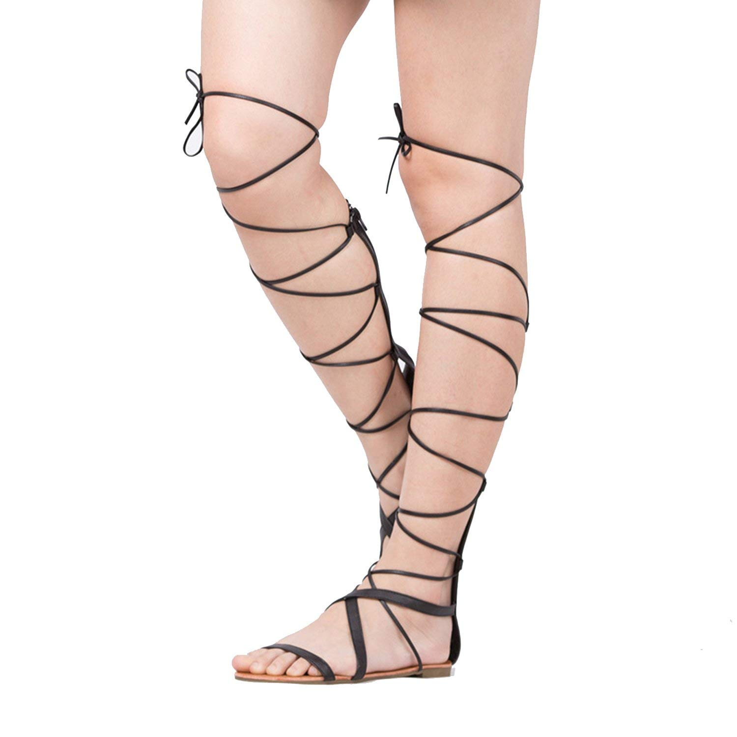 3f6f500b685 Get Quotations · Show-Show-Fashion slides-sandals Shoes Women Sandals  Casual Flat Lace up Boots