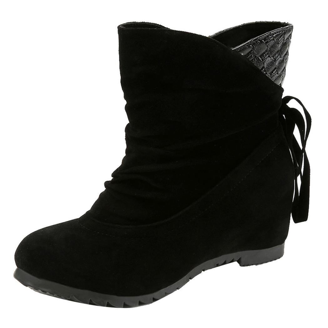 Snow Boots,Hunzed Women Fashion Weave Tassel Winter Boots Warm Mid Calf Boots Ladies Casual Warm Winter Shoes