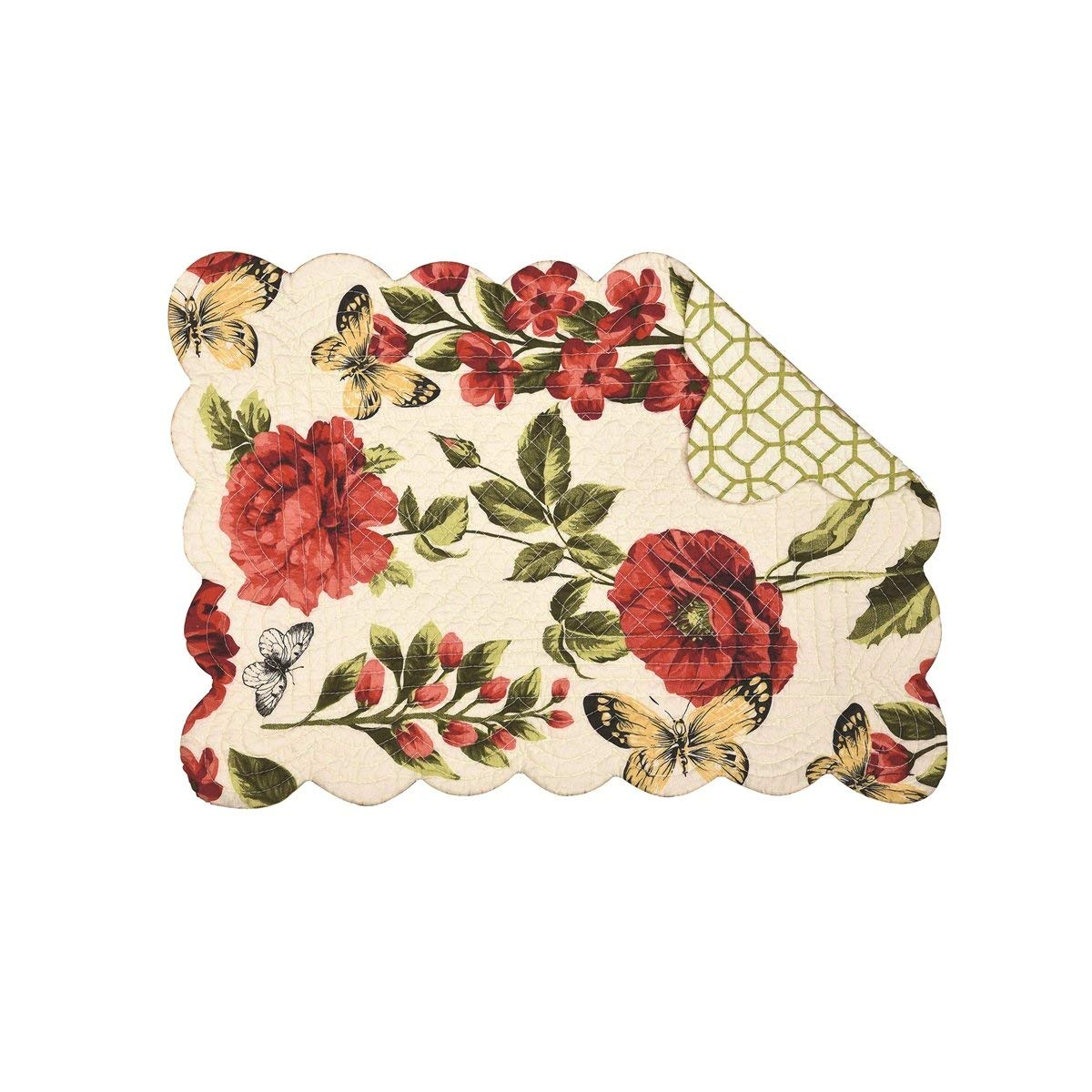 C&F Home Set of 4 Pcs, 13x19 Quilted Placemat,Nina