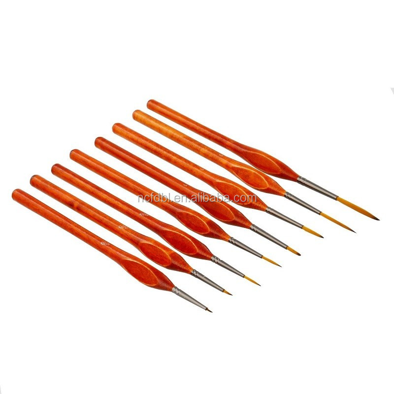 New Product 7pcs Sable Fine Detail Brush Set Round Tip Synthetic Nylon Hair Short Handle Fine Detail Paint Brush