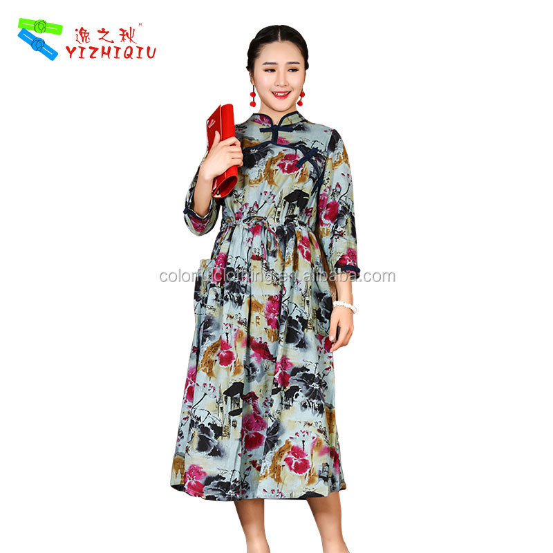 Modled Chinese cheongsam qipao with long sleeve