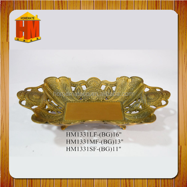 zinc alloy wedding fruit basket /tableware candy dish/nut plate