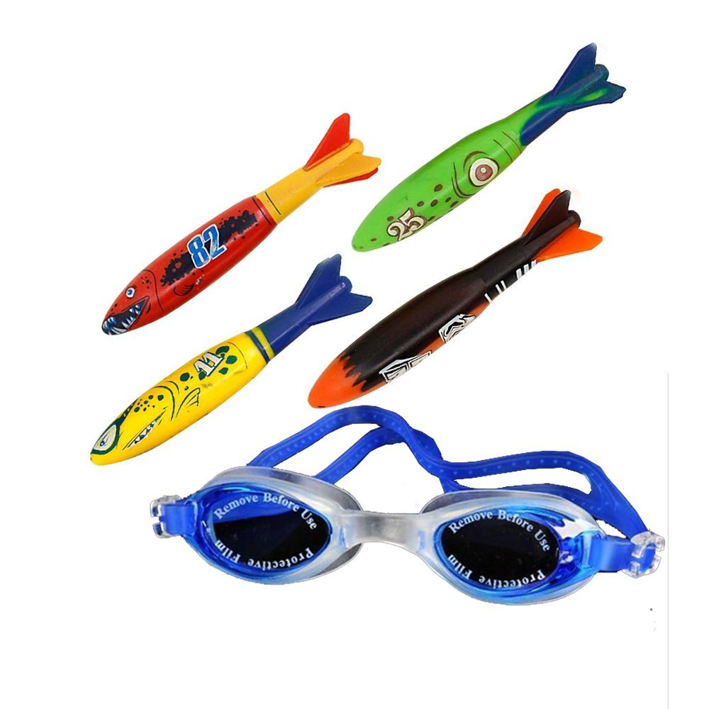 Dive torpedo,Glides Under Water,Kids Swimming pool throwing torpedo Bandits ( (4-pack) & Mirrored Silicone Seal Swimming Goggles Swimming Glasses For Kides (Blue)