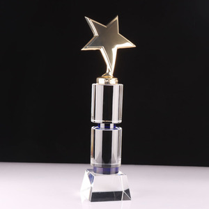 Gold metal Star optical Crystal Glass trophy