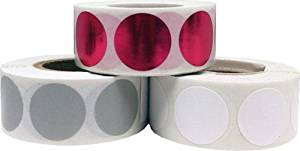 "Round Color Coding Craft Decoration Dot Stickers - Grey Metallic Rose and White - 1,500 Total 0.75"" Inch Round Adhesive Labels"