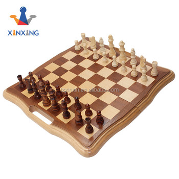Inlaid wooden-Style Chess Set with handle Wood Chessmen
