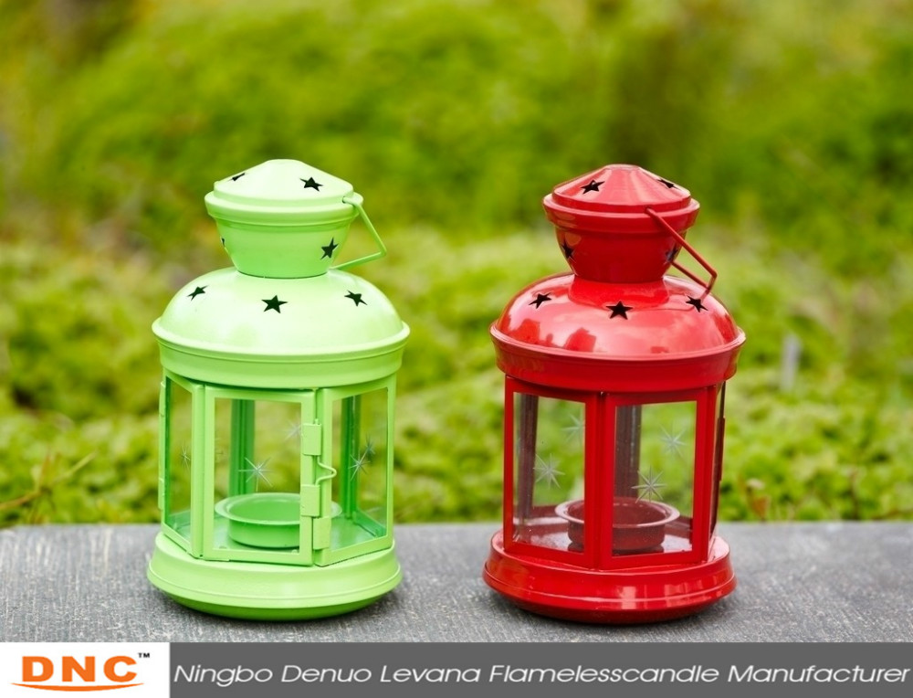 Smart colorful star metal candle lantern
