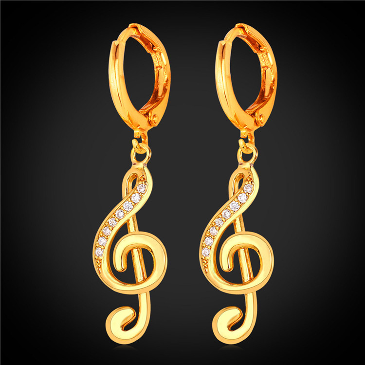 U7 Crystal Treble Clef Dangle Earring For Women Summer Style Jewelry Gold Plated Music Note Earrings