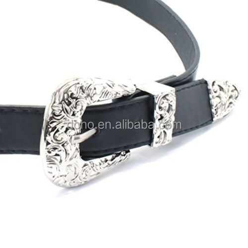 Factory manufacturing low price Vintage Style Women's Ladies Silver Double Buckle Belt