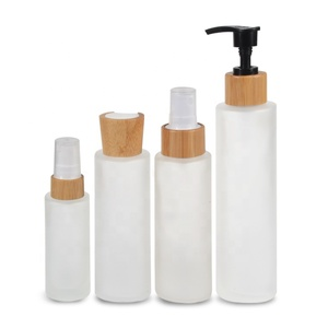 cosmetic packaging 30ml 50ml 100ml 120ml 150ml frosted glass bamboo lotion bottle for serum emulsion
