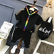 Children's casual wear new summer boy hooded short-sleeved shirt + pants fashion suit 2 sets children Tracksuit