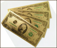 Gold foil collectible bills, gold plated 2 US dollar banknotes