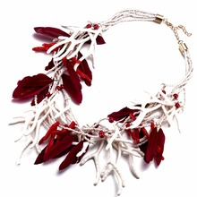 Bright red exaggerated European and American Christmas alloy jewelry necklace