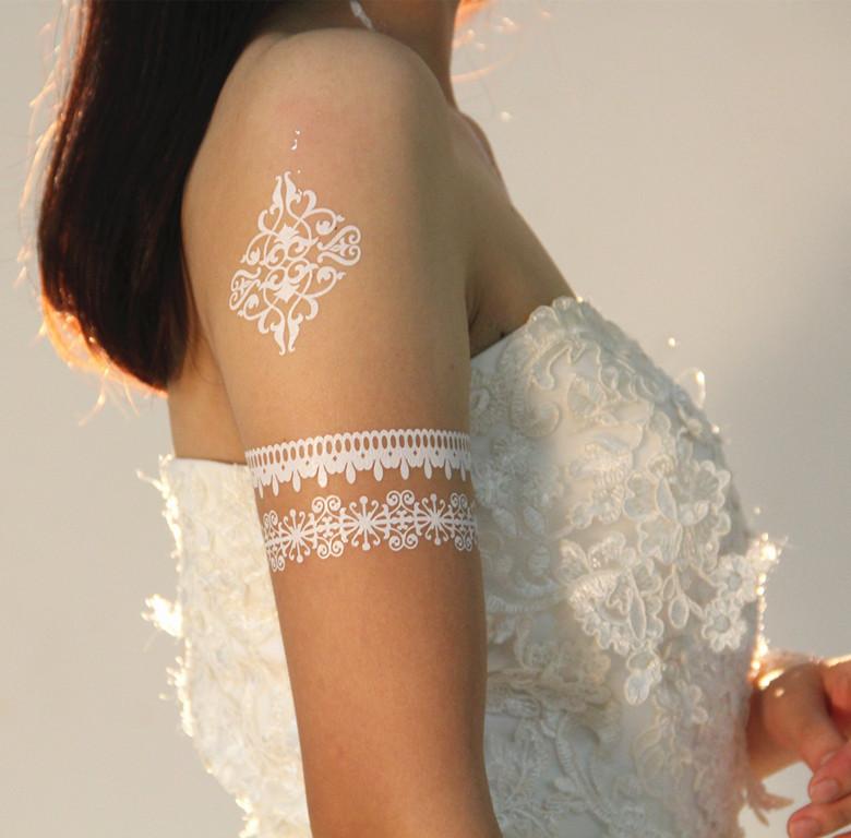 [تصویر:  Wedding-Decoration-Bride-Tribe-White-Lace-Tattoo.jpg]