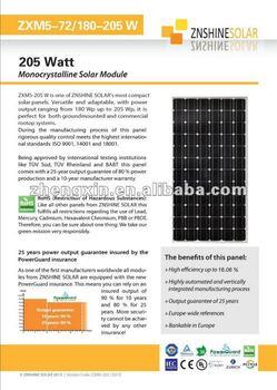 Znshine Mono Crystaline Solar Panel Pv Module Mono 180w