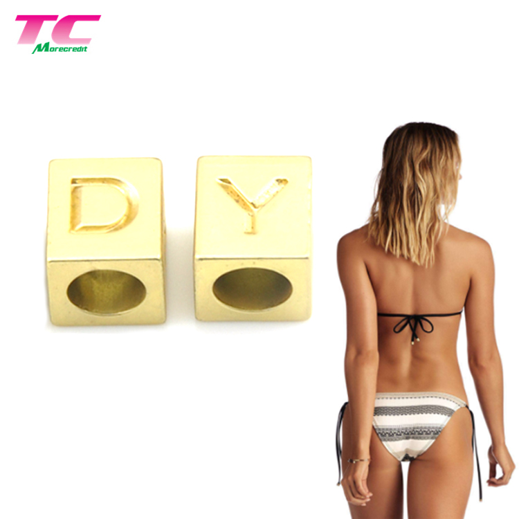 Sea Water Resistant Bikini Metal Lace Tips Shiny Gold Custom Metal Cord End Stopper For Swimwear
