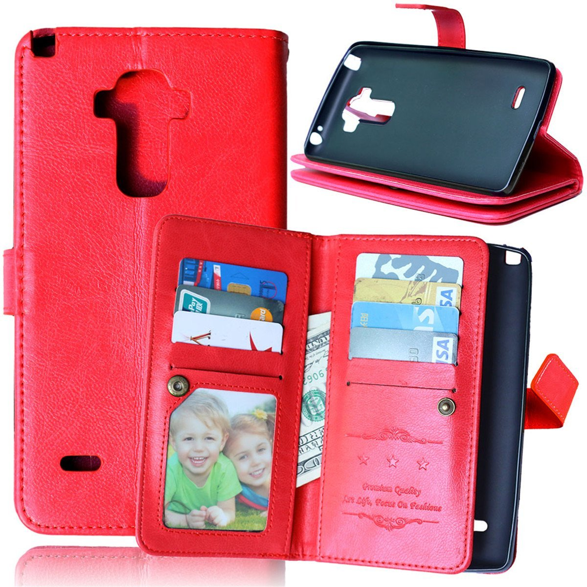LG G Stylo Case,Gift_Source [Red] Premium Pu Leather Magnet Folio Wallet Credit Card Holder Flip Cover Case Built-in 9 Card Slots & Stand Case for LG G Stylo / LG G4 Stylus (LS770) (G4 Note)