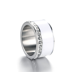 11mm Width StainlessSteel Enamel Ring CZ inlaid for Women Silver Color