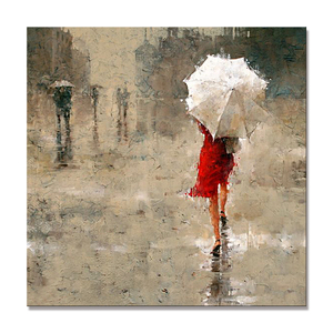 Pop Abstract Knife Red Umbrella Girl in Rain Painting